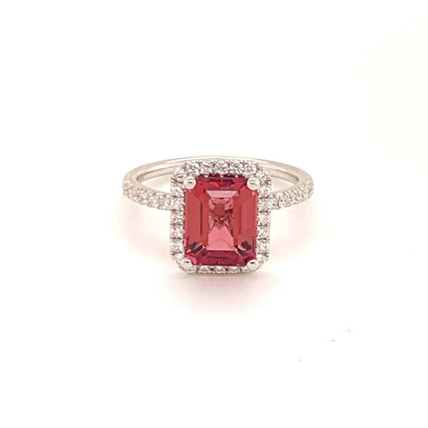Diamond Rubellite Ring 18k Gold 3.11 TCW Women Certified $3,950 913131
