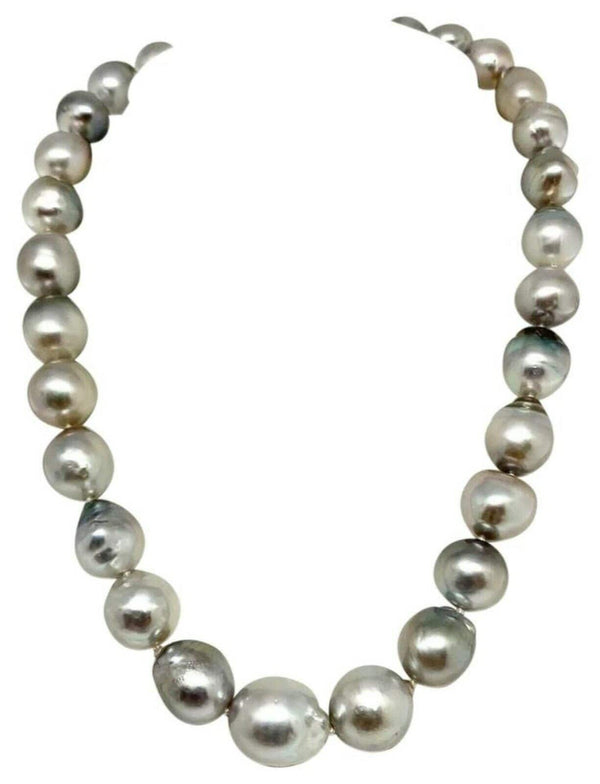 Hanadama Tahitian Pearl Necklace 14.3 mm Women 14k Gold Certified $9,750 917185