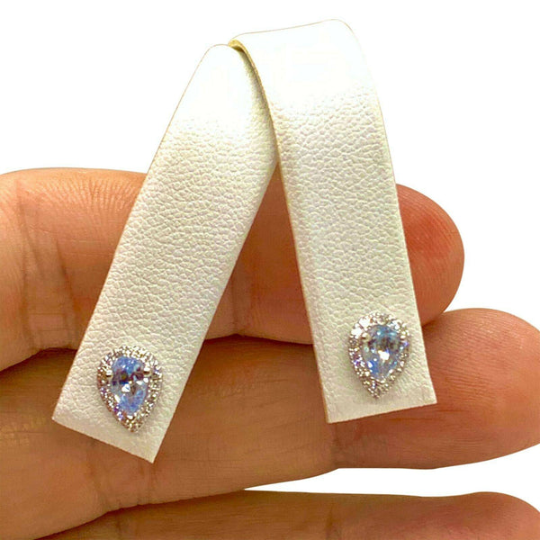 Diamond Blue Sapphire Earrings 18k Gold Certified $2,295 921740