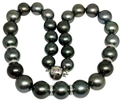 "Diamond Tahitian Pearl Necklace 14k Gold 16.3 mm 16.5"" Certified $24,000 914649"