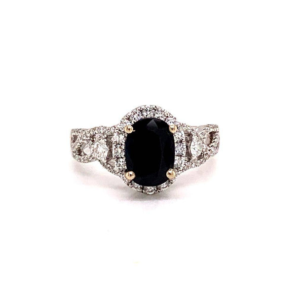 Diamond Sapphire Ring 18k Gold 2.58 Ct Women Certified $2,950 821732