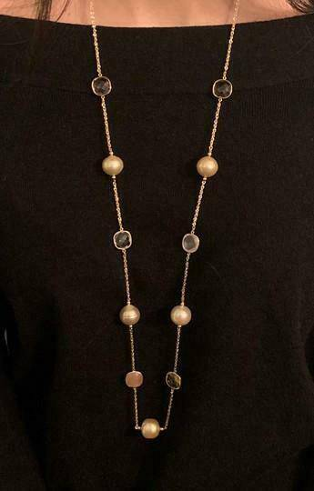 South Sea Gold Pearl Quartz Necklace 14k Gold 14.6 mm Certified $2,970 820708