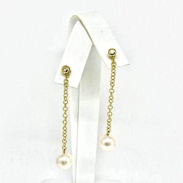 Diamond Akoya Pearl Earrings 14k Gold 8.50 mm Women Certified $995 810631