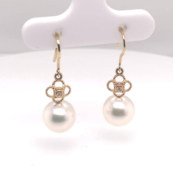 Diamond Akoya Pearl Earrings 14 KT Yellow Gold 9.14 mm Certified $990 017533