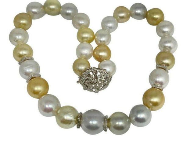 "Diamond South Sea Pearl Necklace 18k Gold 16.5 mm 17"" Certified $24,950 914645"