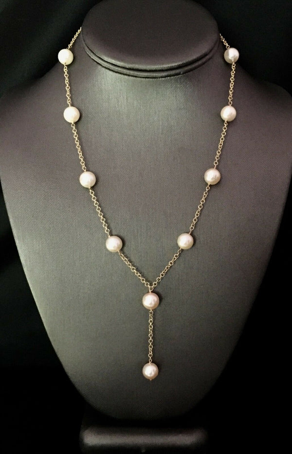 "Akoya Pearl Necklace 14k Gold Large 9.5 mm 18.5"" Italy Certified $3,950 721475"