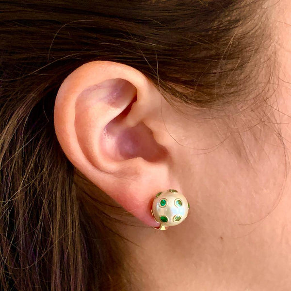 South Sea Pearl Emerald Earrings 18k Gold 11.80 mm Certified $3,950 011912