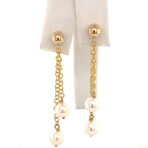 Akoya Pearl Earrings 14 KT Gold 6.37 mm Certified $890 013384