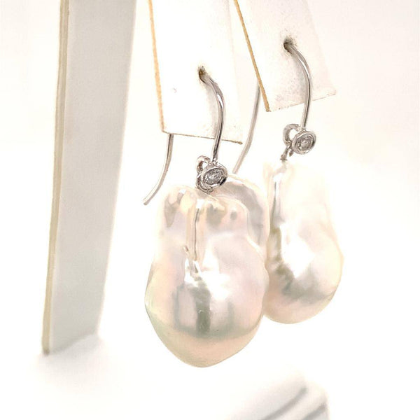 Diamond Fresh Water Pearl Earrings 14 KT Certified $1,950 920924