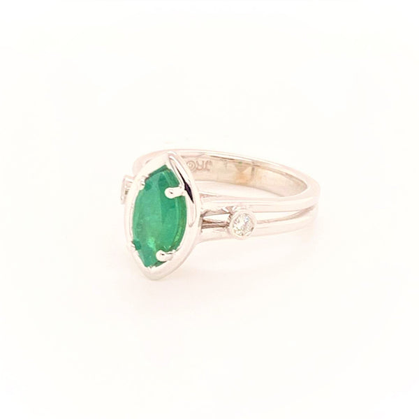 Diamond Emerald Ring 14k Gold Custom Certified $2,450 913616