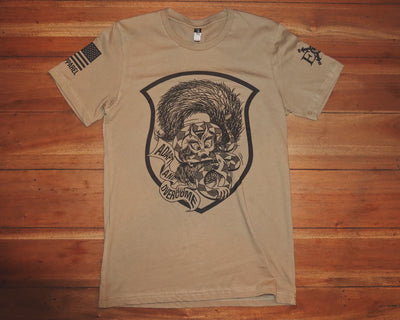 "Short Sleeved ""Psycho Squirrel"" Tee - Coyote"