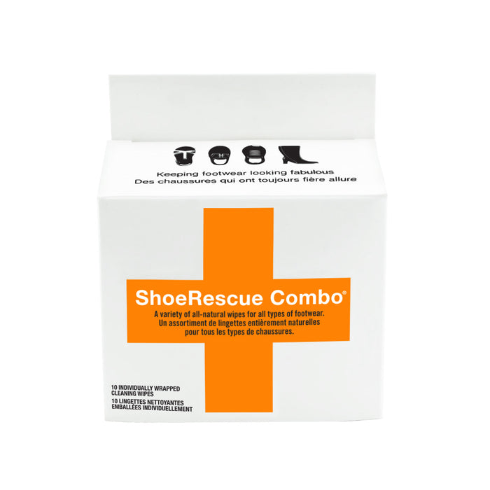 ShoeRescue Combo - Mixture of 10 Individually Wrapped All-Natural Shoe Cleaning Wipes