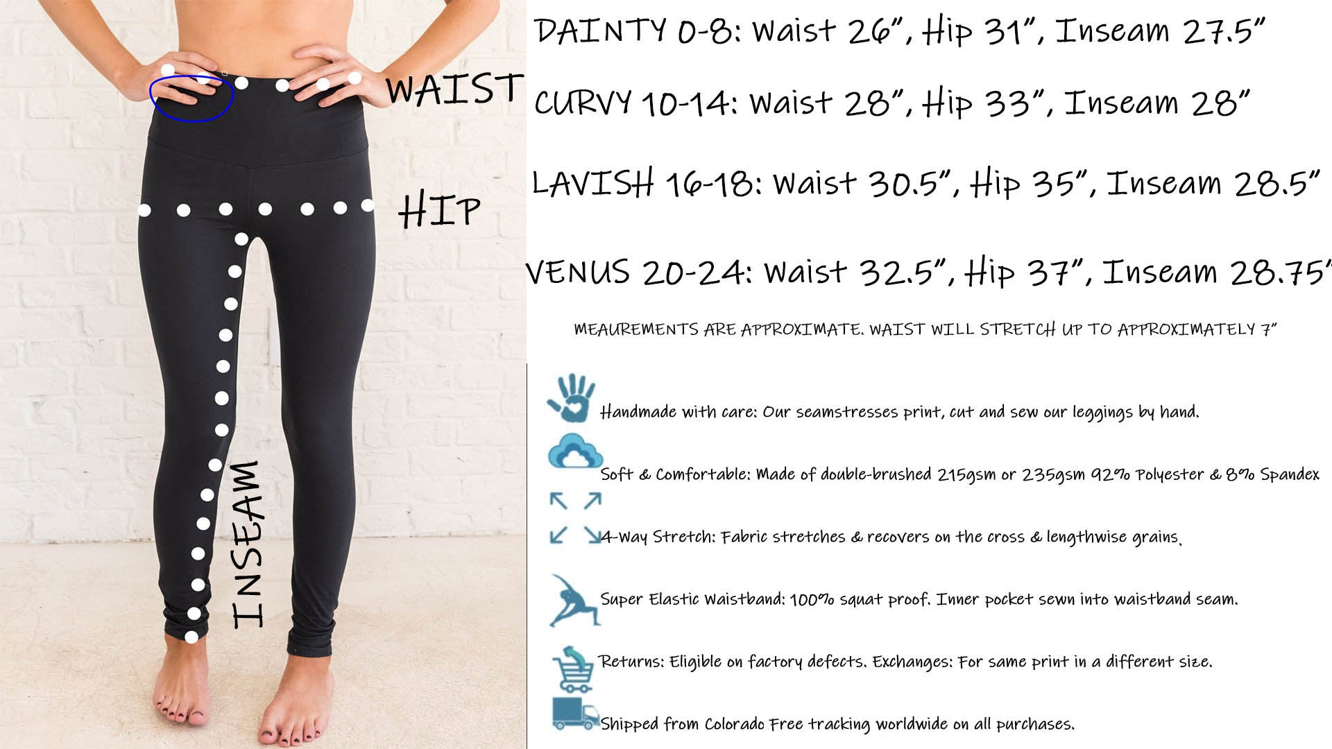 Beautifully Unique Leggings Size Chart