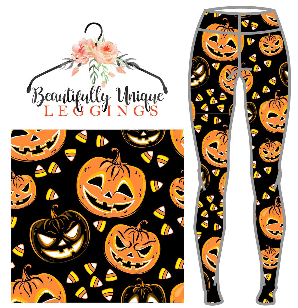 Autumn Leggings - Candy Jacks - Jack O Lantern Leggings