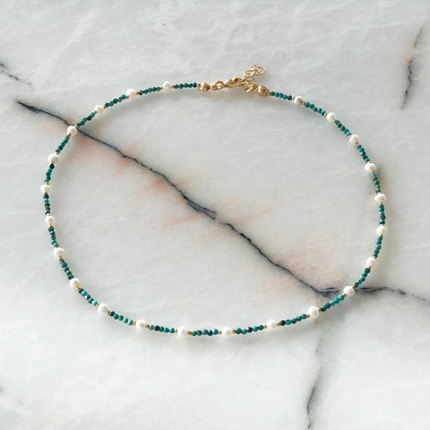 Esmeralda Natural Pearl & Turquoise Necklace