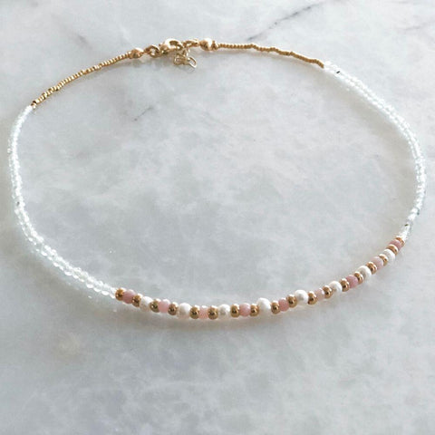 Flora Natural Pearl & Agate & Pink Opal Necklace