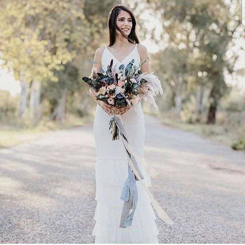 wedding bridal gown and bouquet styling with silk ribbon