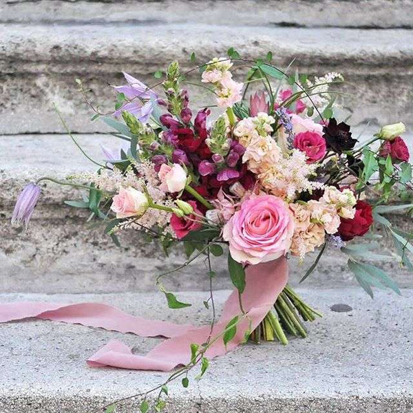 styling a bouquet with a  hand-dyed silk ribbon