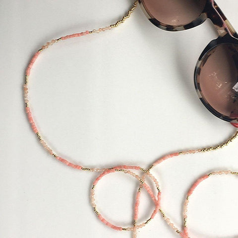 Jane Pink Coral & Sunstone Eyeglass Chain