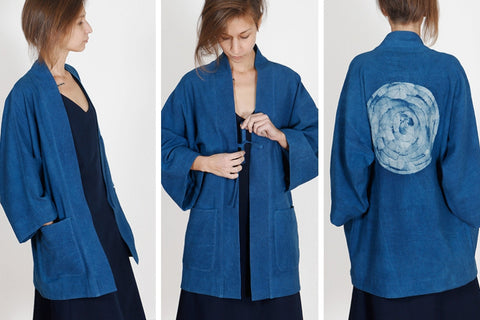 unisex indigo haori handpainted with batik on the back