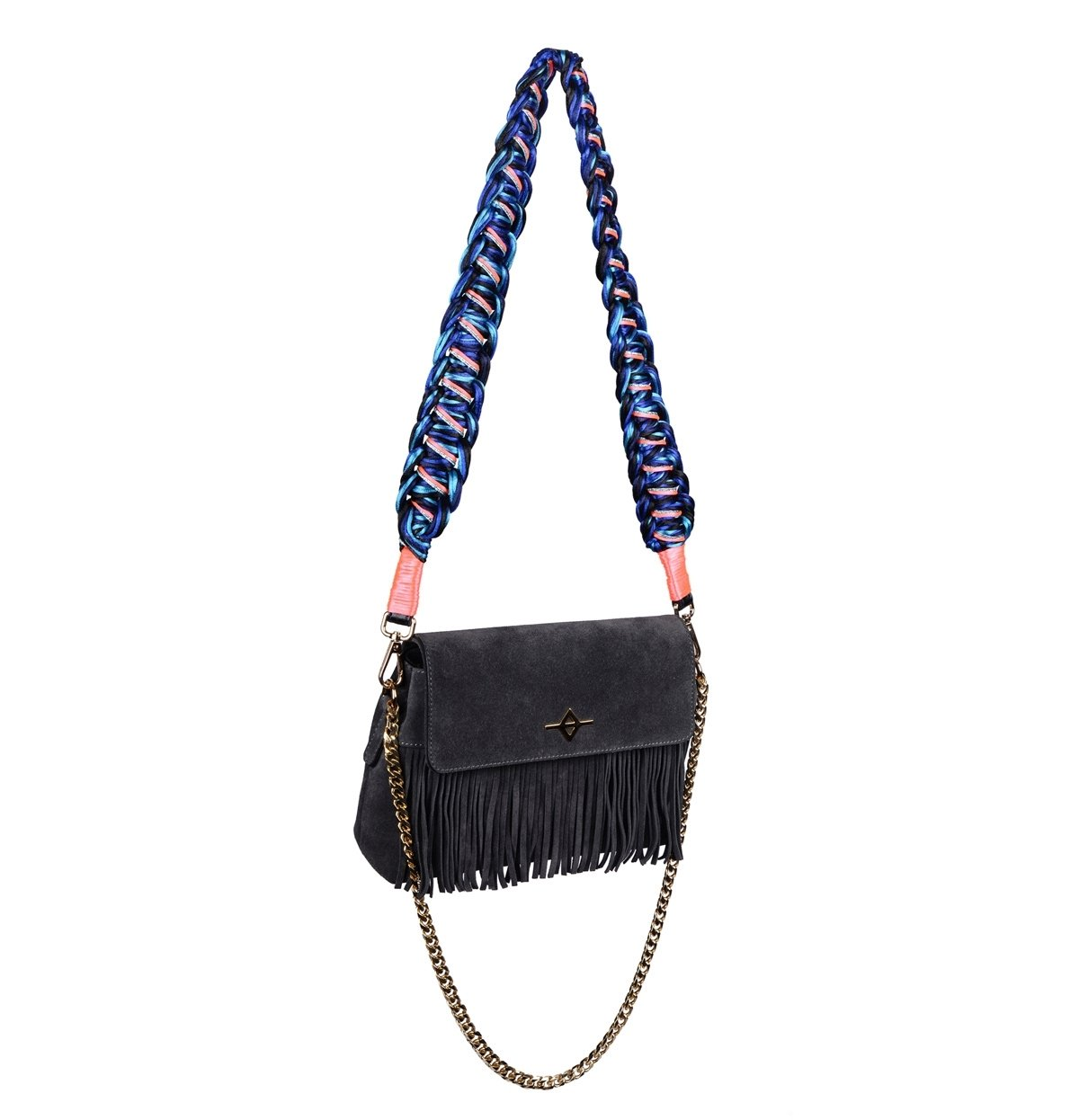 navy blue suede shoulder bag, dark blue light blue pink colors, handmade Happynes Bag Strap | Cadence - hippist.co.uk