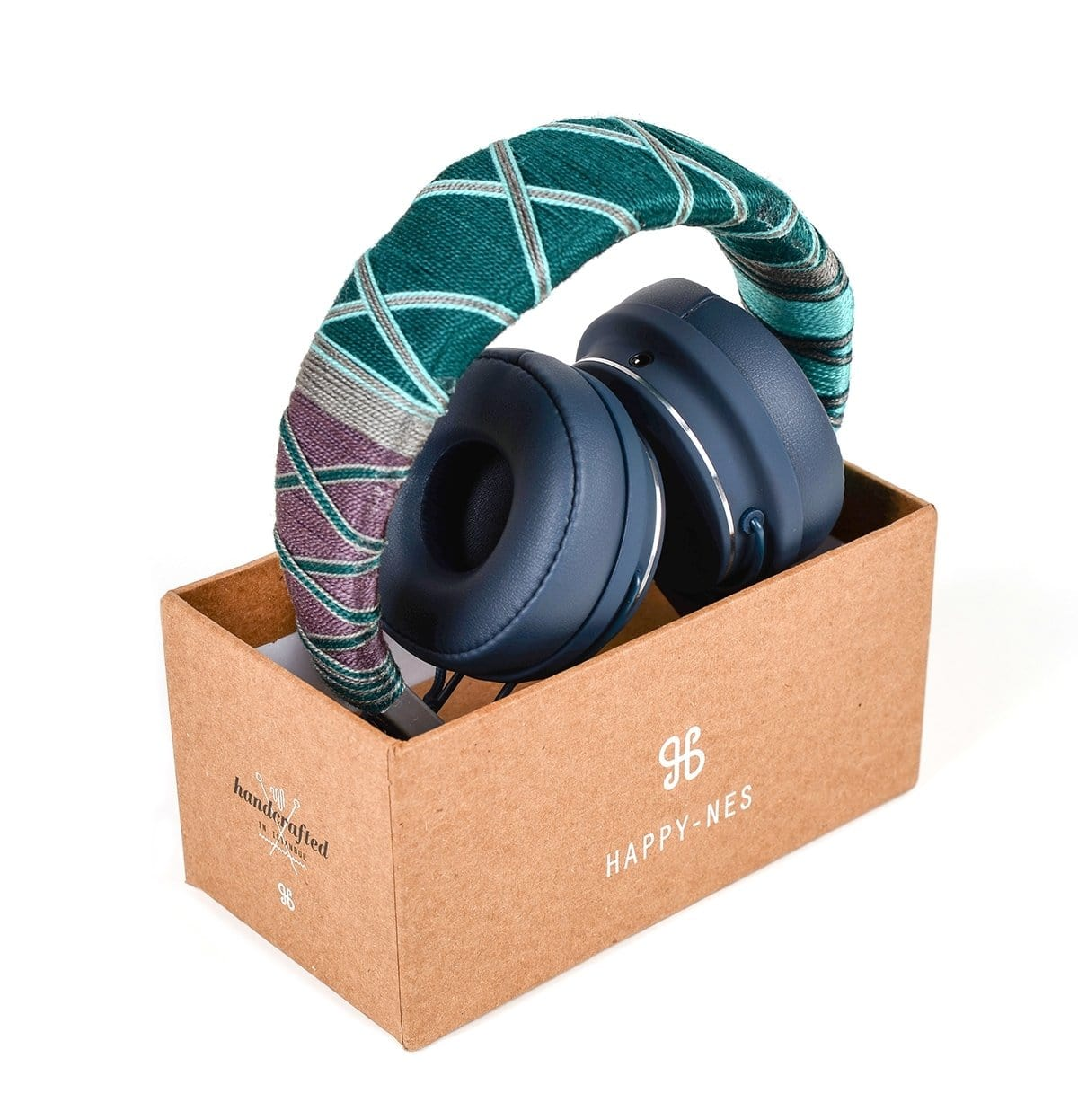 Green Happy-Nes headphone in box handcrafted on New Urbanears Plattan 2