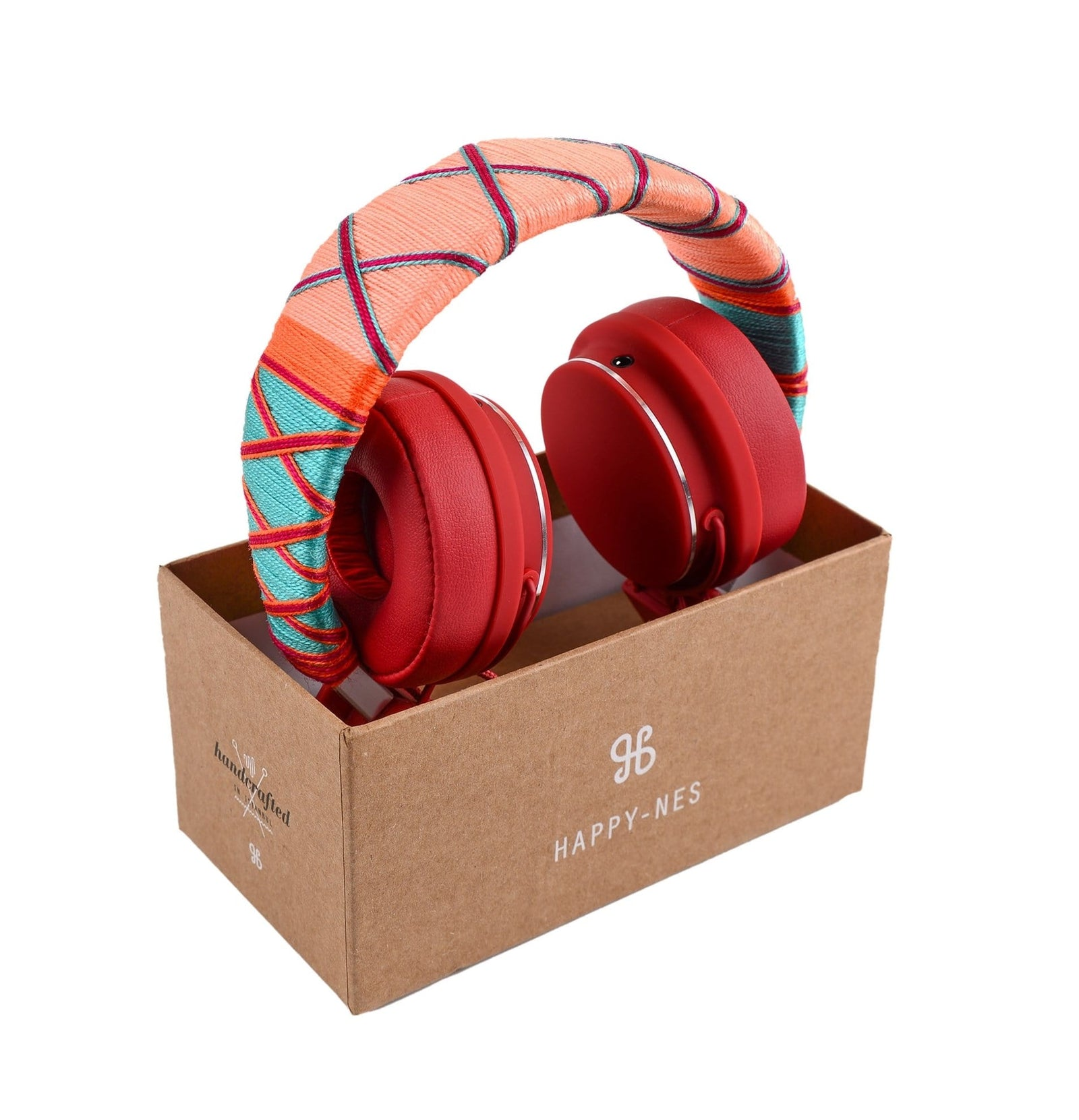 Colorful Happy-Nes headphone in box handcrafted on New Urbanears Plattan 2