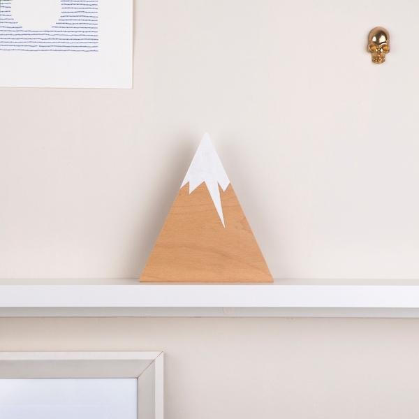Lion Mountain Wooden Block | Snowy Natural - hippist.co.uk