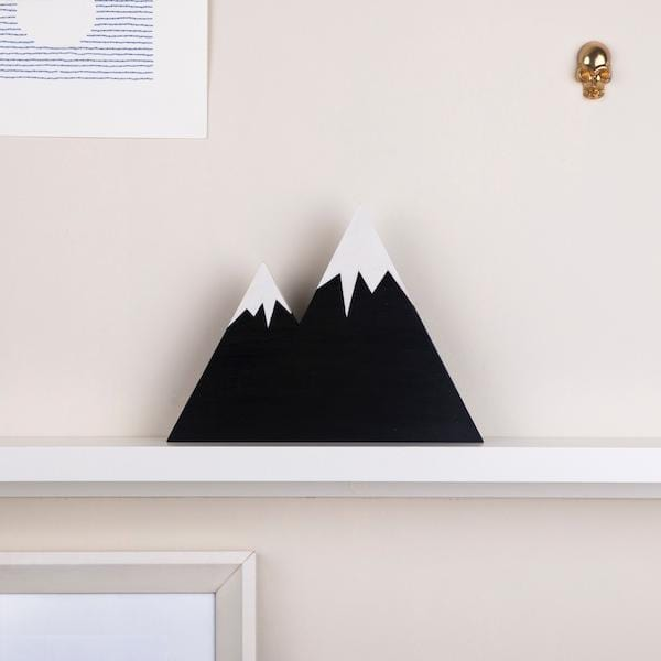 Zion Mountain Wooden Block | Snowy Black