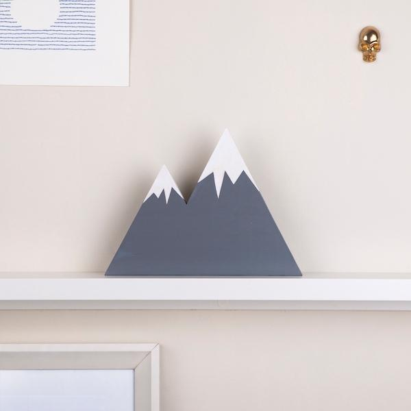 Zion Mountain Wooden Block | Snowy Grey