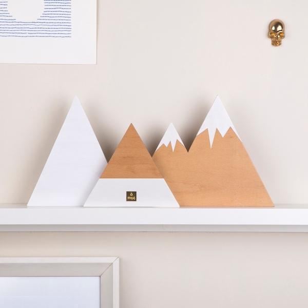 Zion Mountain Wooden Block | Snowy Natural