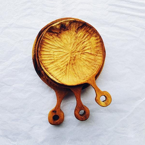 Mulberry wood hand-carved plates