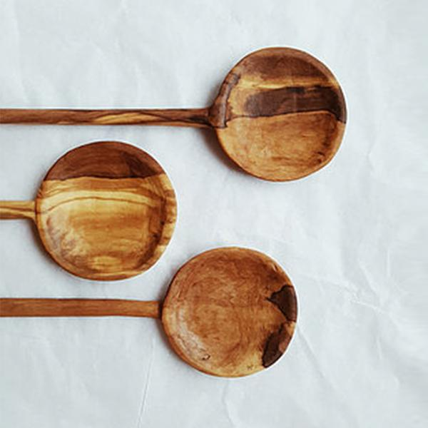 Three Mucs Atelier branded Walnut wood hand-carved spoons
