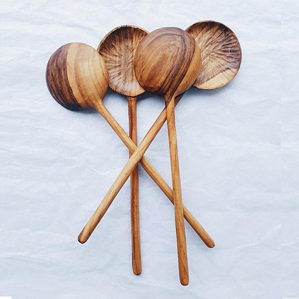 Walnut wood hand-carved spoons