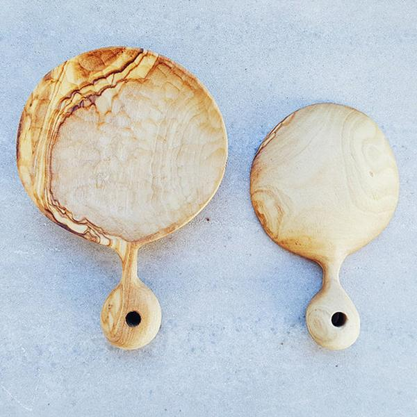 Two Olive wood hand-carved spoons