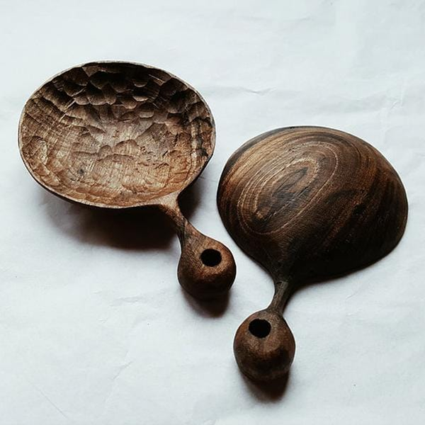 Two Walnut wood hand-carved spoons