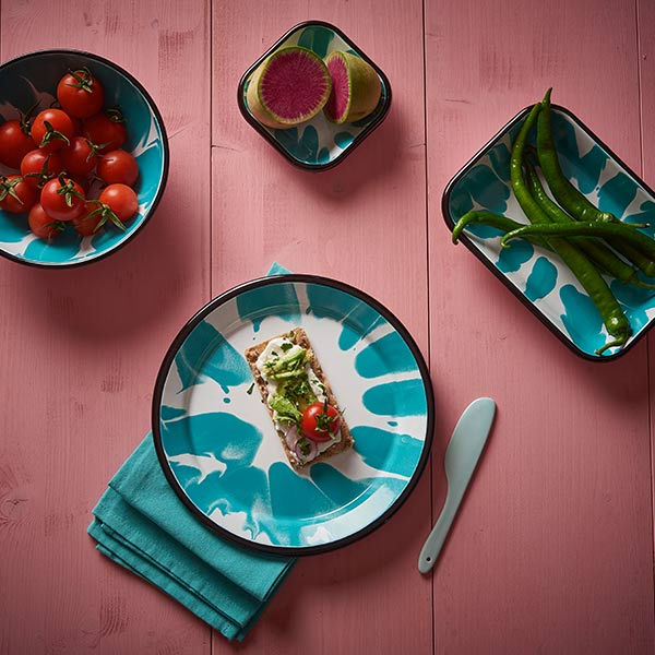 26 x 18 x 4 cm, Turquoise Color Enamel Serving Trays