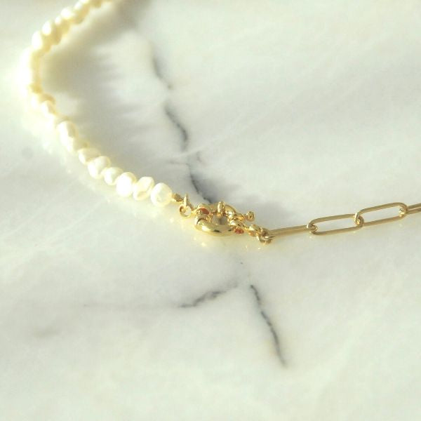 Agnes Natural Pearl Chain Necklace