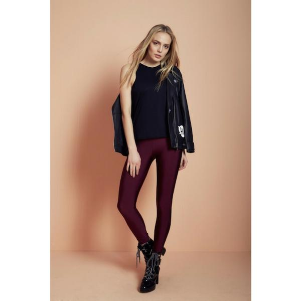 comfortable shiny anais margaux branded burgundy colour full lenght legging