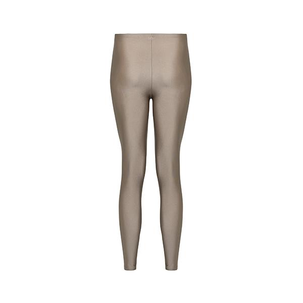 comfortable shiny anais margaux branded taupe colour full lenght legging