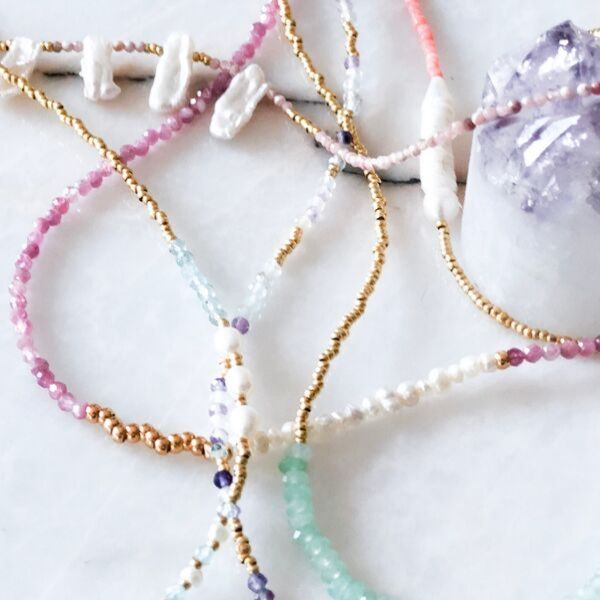 gemstone minimalist necklaces