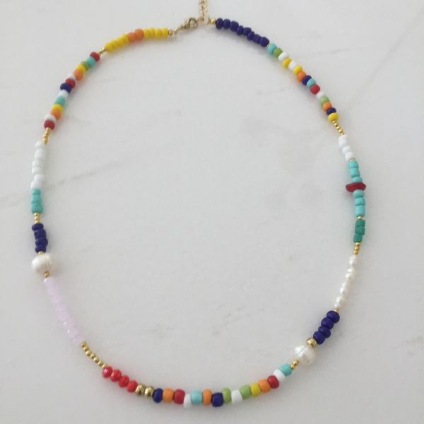 Amalfi coast natural pearl and colourful beaded choker necklace