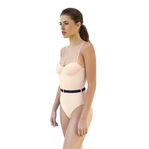 stylish coolest comfortable pinkish nude colour swimsuit bustier for beachwear