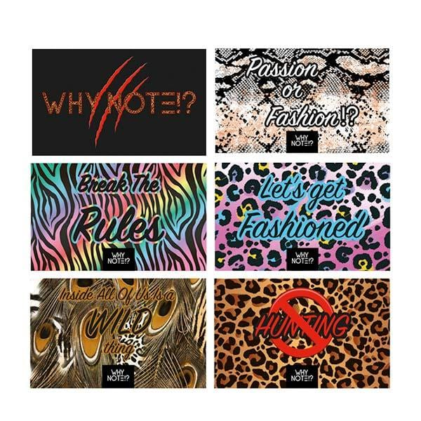 Why Note!? Fun Note Bag | Neon Blue | Animal Print