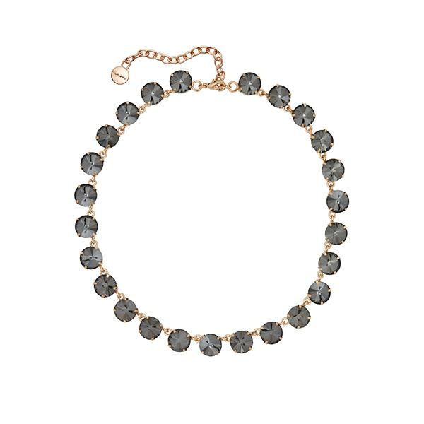 Anna Round Crystal Necklace | Caviar