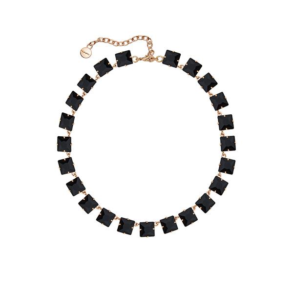 Anna Square Crystal Necklace | Black