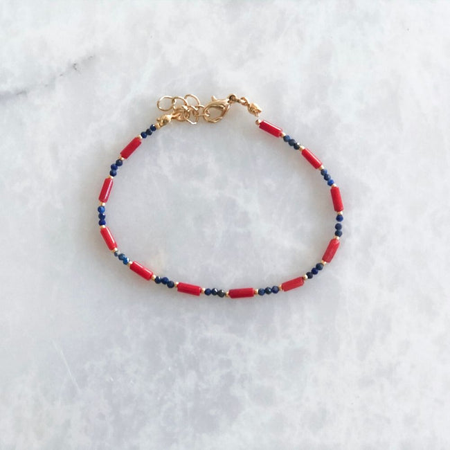 Red and Black Lapis Lazuli & Coral Bracelet