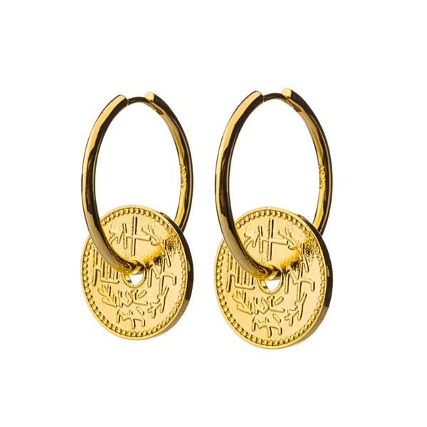 Asian Coin Hoops Earrings Jewellery Mtoy