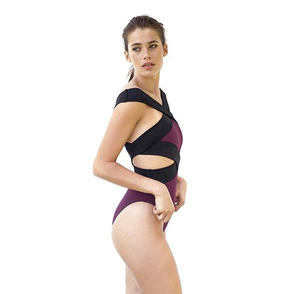 Barbara Banded Cross Swimsuit | Merlot Swimwear Movom
