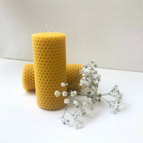 Hand-rolled 2 pieces natural beeswax X-large candles